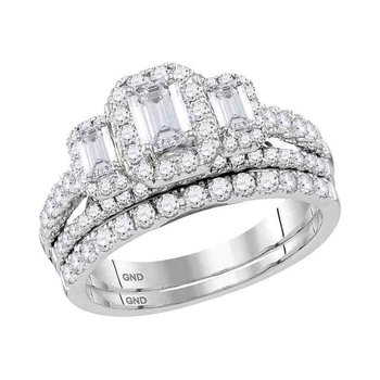 14kt White Gold Womens Emerald Diamond 3-Stone Bridal Wedding Engagement Ring Band Set 1-1/2 Cttw