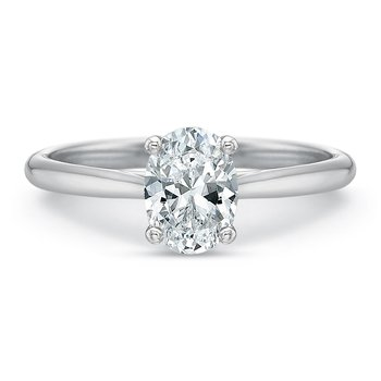 18K White Gold Solitaire for 1.00 ct oval center