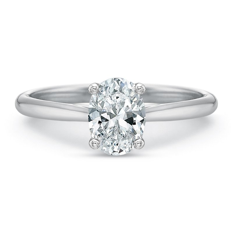 Precision Set 18K White Gold Solitaire for 1.00 ct oval center