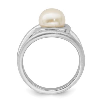 Sterling Silver Rhodium-plated Satin/Polished 8-9mm Button FWC Pearl Ring