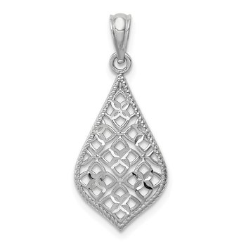 14K White Gold Diamond-cut Dangle Pendant
