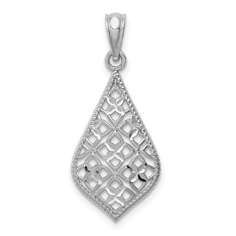 Quality Gold 14K White Gold Diamond-cut Dangle Pendant