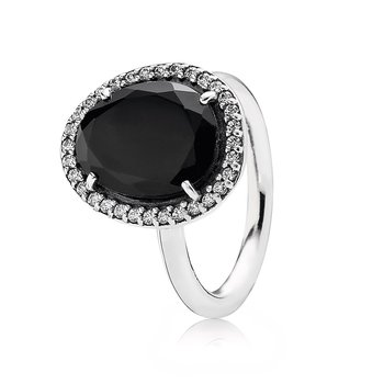 Glamorous Legacy Ring, Black Spinel & Clear CZ