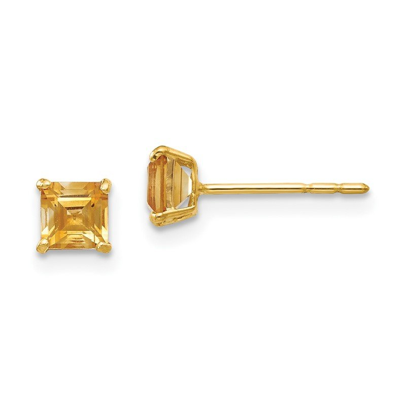 Quality Gold 14k Madi K Citrine 4mm Square Post Earrings