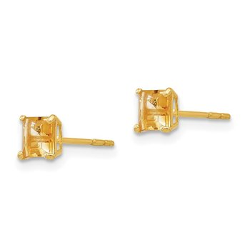 14k Madi K Citrine 4mm Square Post Earrings