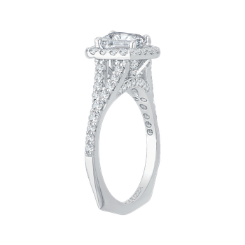 18K White Gold Emerald Cut Diamond Halo Engagement Ring with Split Shank (Semi-Mount)