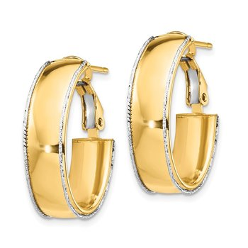 14k 7.5mm Polished with WG D/C wire Accent Oval Hoop Earrings