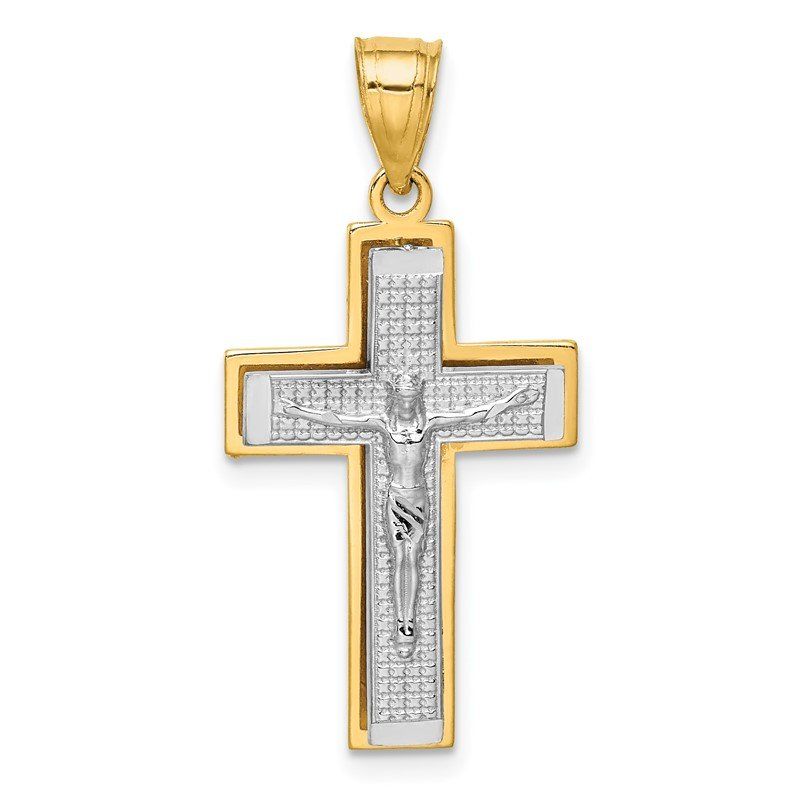 Quality Gold 14K Two-tone Crucifix Pendant