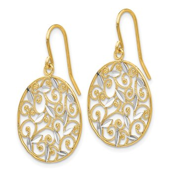 14K and Rhodium Diamond-cut Filigree Circle Wire Earrings