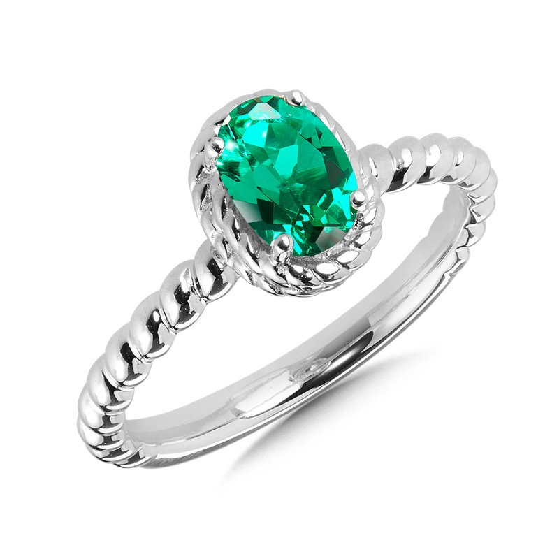 SDC Creations Created Emerald Ring in Sterling Silver