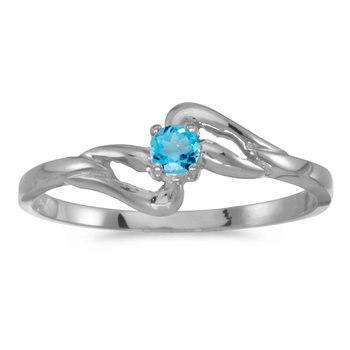 10k White Gold Round Blue Topaz Ring