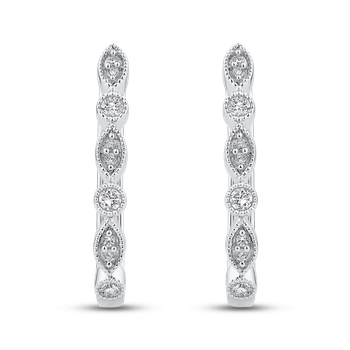 Round 1/4 ct Diamond Fashion Hoop Earrings