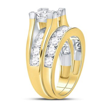 14kt Yellow Gold Womens Princess Diamond Bridal Wedding Engagement Ring Band Set 3.00 Cttw
