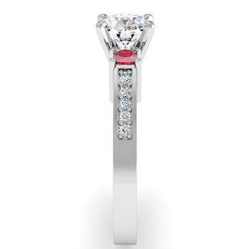 Ruby Princess Cut Pave Diamond Engagement Ring