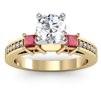Ruby Princess Cut Pave Diamond Engagement Ring