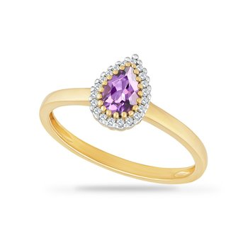 14K BAND WITH PEAR SHAPE AMETHYST 0.40CT & 20 DIAMONDS 0.066CT