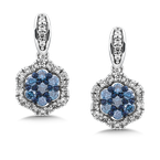 SDC Creations Pave set Diamond Cushion Shaped Halo Earrings, 14k White Gold  (1ct. tw.) HI/I1
