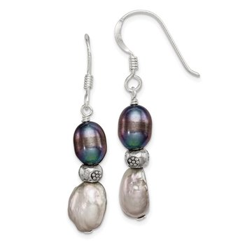 Sterling Silver Light and Dark Grey FW Cultured Pearl Earrings