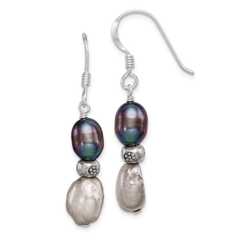 Quality Gold Sterling Silver Light and Dark Grey FW Cultured Pearl Earrings