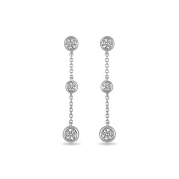 14K WG and diamond Three Bezel Dangling earring in bezel setting 0.33 cts