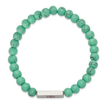 Stainless Steel Polished Medical ID Turquoise Glass Stretch Bracelet