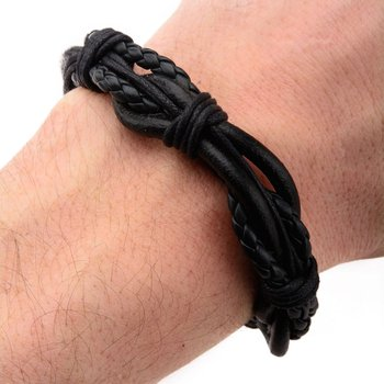 Multi Black Leather Bracelet with Steel Clasp