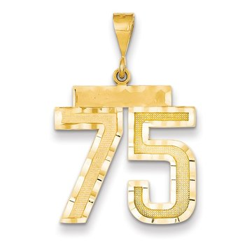 14k Large Diamond-cut Number 75 Charm