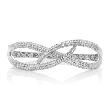 White Gold & Diamond Overlapping Bangle