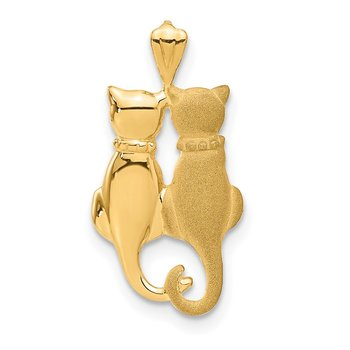 14k Satin and Polished Cats Pendant