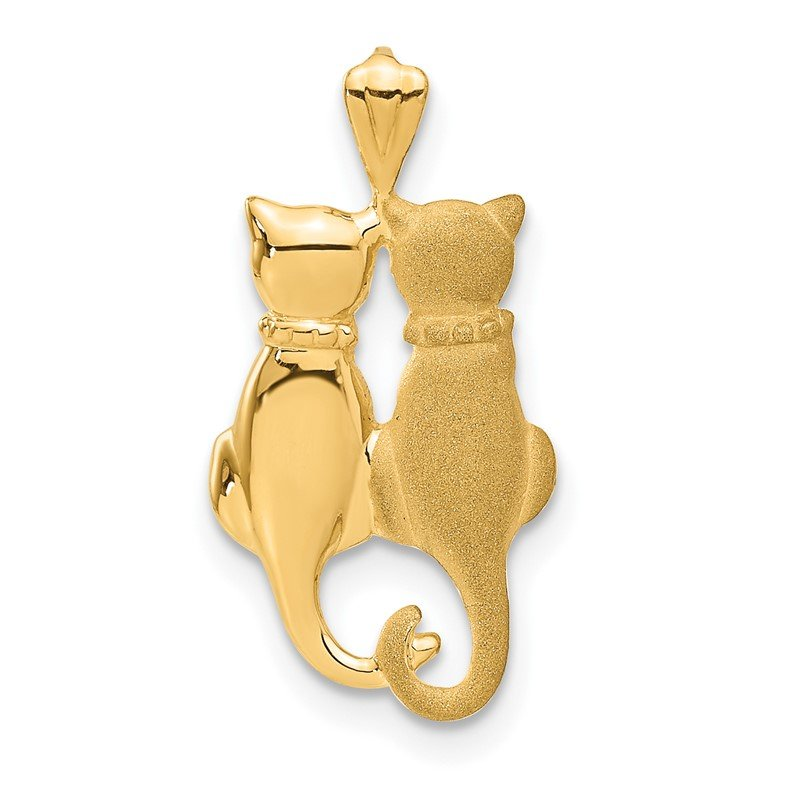 Quality Gold 14k Satin and Polished Cats Pendant