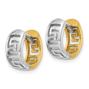 14k Two-tone Greek Key Hinged Hoop Earrings