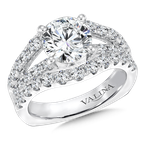 Valina Bridals Mounting with side stones 1.43 ct. tw., 2 ct. round center.