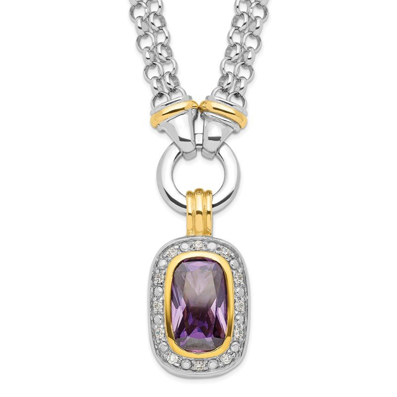 J.F. Kruse Signature Collection Sterling Silver Flash Gold-plated CZ Necklace
