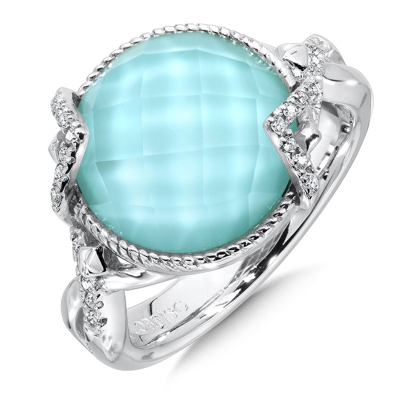 Sterling silver, turquoise fusion and diamond ring