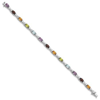 Sterling Silver Rhodium-plated & Multi Gemstone Bracelet