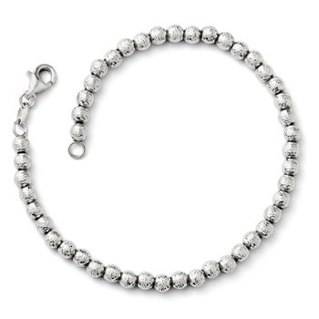 Leslie's 14k White Gold Diamond-cut Beaded Bracelet