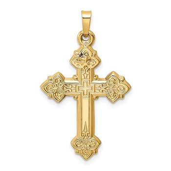 14k Budded Hollow Cross Pendant