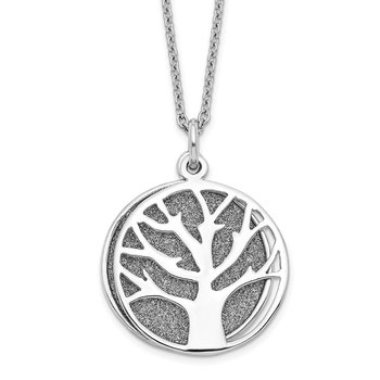 Sterling Silver RH-plated Enamel Glitter Fabric 2-piece Tree Necklace