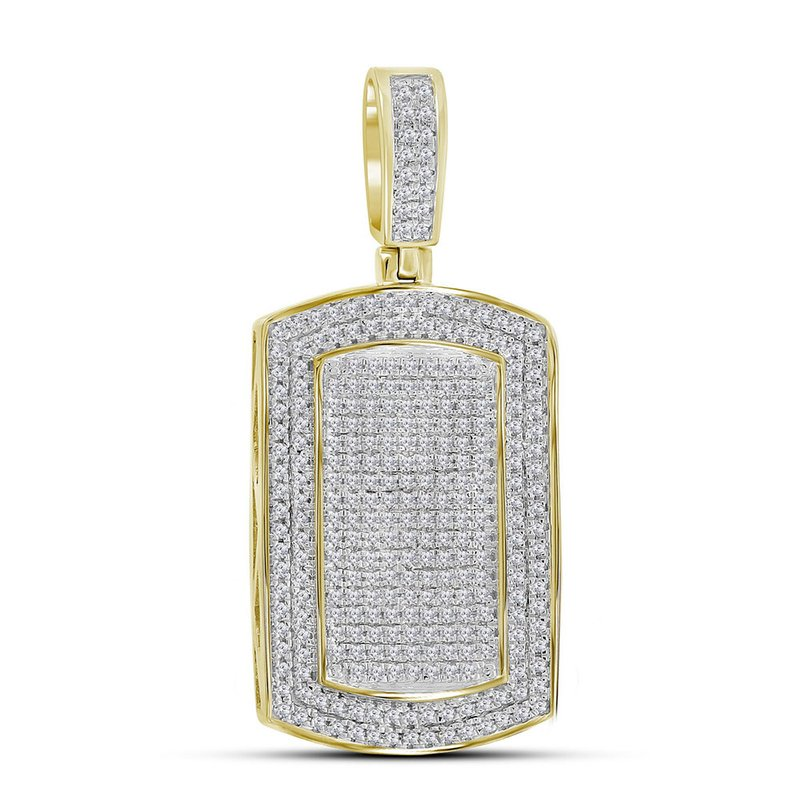 Gold-N-Diamonds 10kt Yellow Gold Mens Round Diamond Dog Tag Charm Pendant 7/8 Cttw