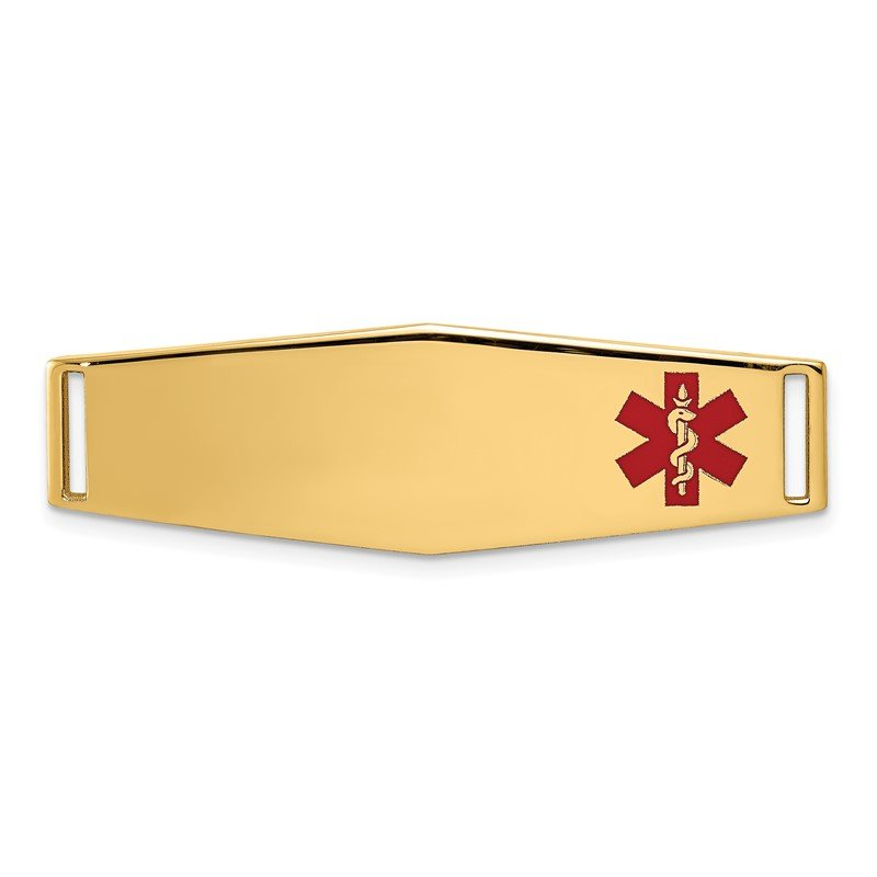 Quality Gold 14K Epoxy Enameled Medical ID Off Ctr Soft Diamond Shape Plate # 820