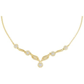 "14kt Yellow Gold Womens Princess Diamond Soleil Cluster Luxury 18"" Necklace 1.00 Cttw"
