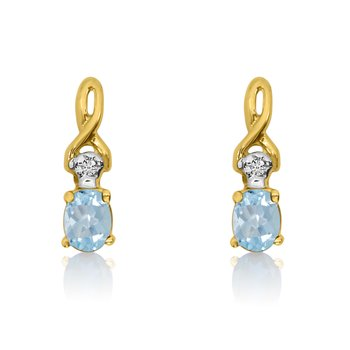 14k Yellow Gold Oval Aquamarine and Diamond Earrings