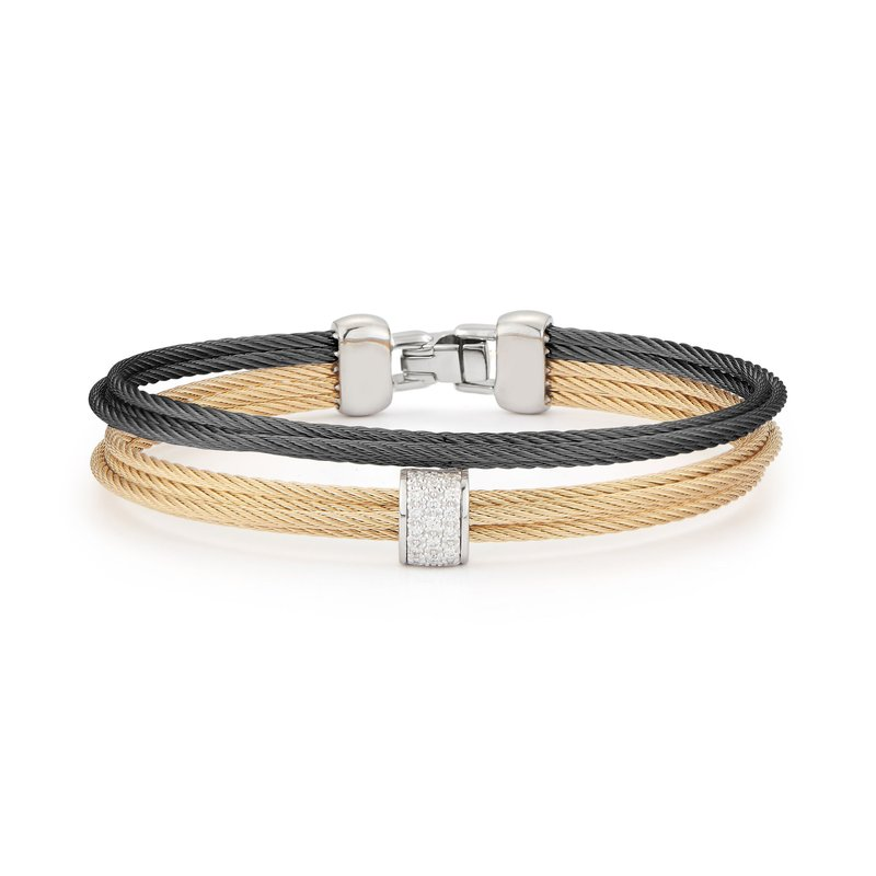 ALOR Black & Yellow Cable Small 2 Row Simple Stack Bracelet with 18kt White Gold & Diamonds