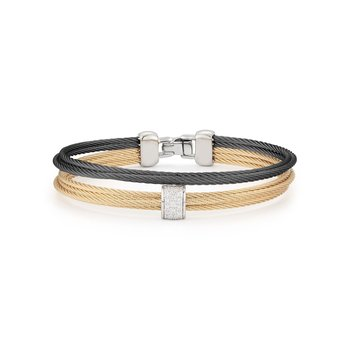 Black & Yellow Cable Small 2 Row Simple Stack Bracelet with 18kt White Gold & Diamonds
