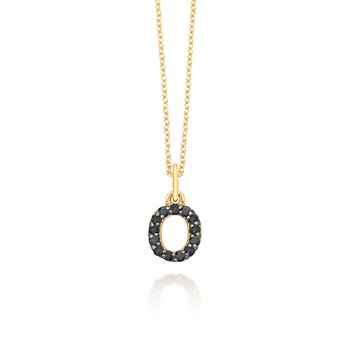 "Black Diamond Baby Block Initial ""O"" Necklace"