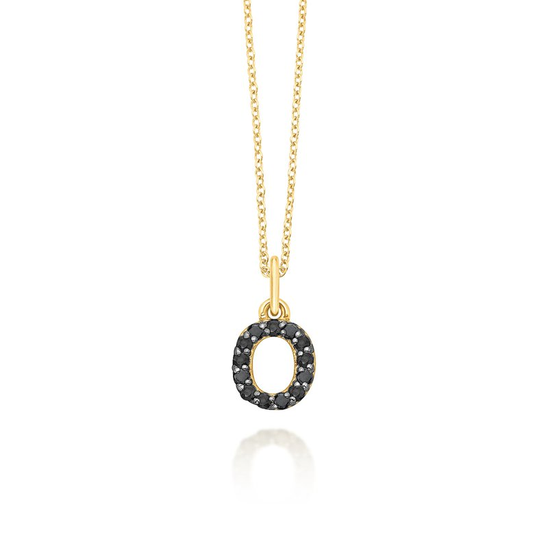 "KC Designs Black Diamond Baby Block Initial ""O"" Necklace"