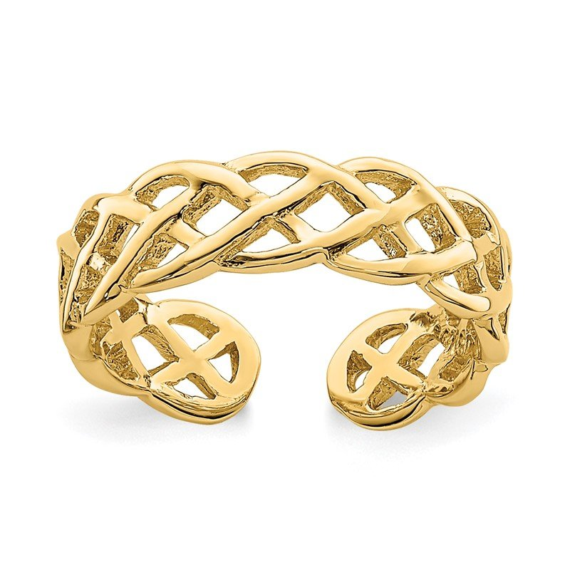 Quality Gold 14K Polished Braided Toe Ring