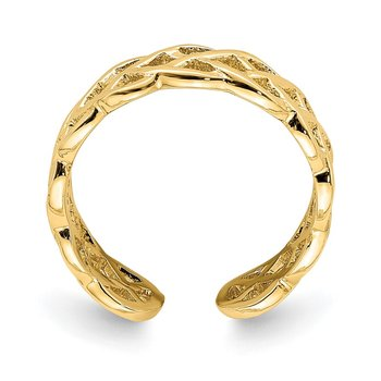 14K Polished Braided Toe Ring