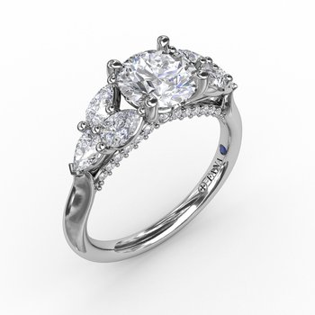 Floral Multi-Stone Engagement Ring With Diamond Leaves