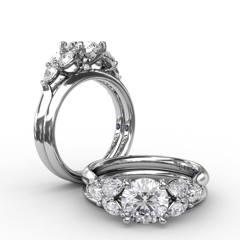 Fana Floral Multi-Stone Engagement Ring With Diamond Leaves